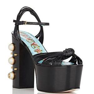 Gucci Black Allie Leather Platform Sandals Sz 39